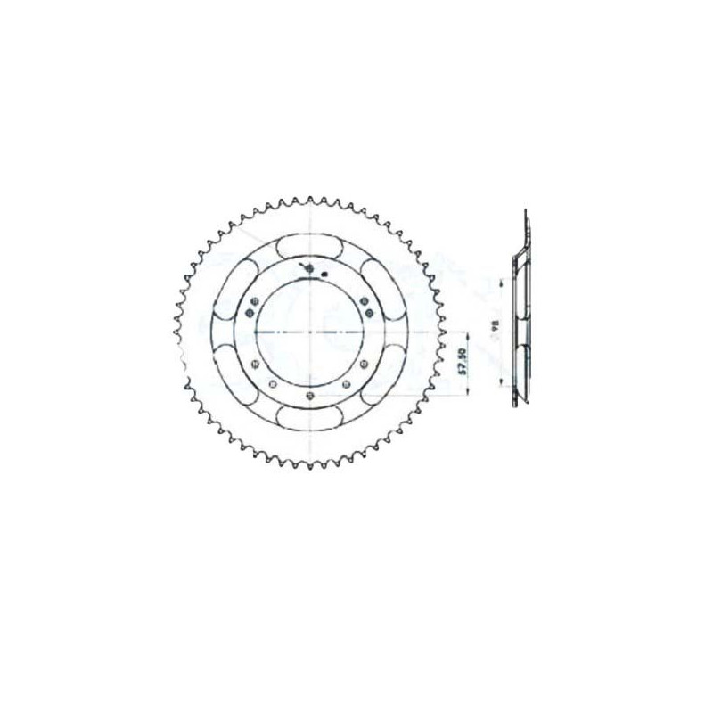 COURONNE COMPATIBLE MOBYLETTES MOTOBECANE MBK Ø98 - 60 DENTS