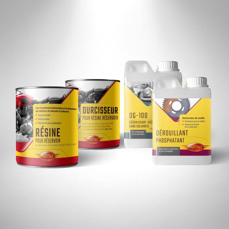 Kit de renovation reservoir essence avec Résine, durcisseur, dégraissant, dérouillant