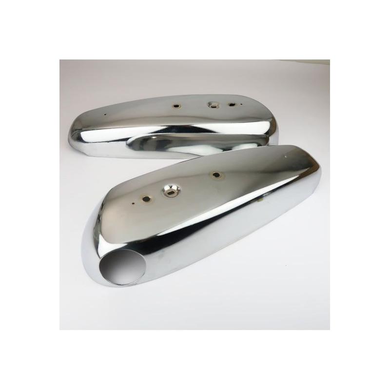 Paire De Cache De Réservoir Chromé Compatible Mobylette Motobecane Motoconfort